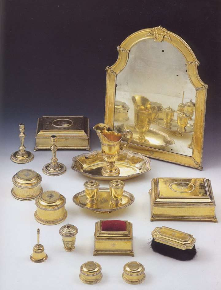 Antique Spanish silver gilt toilet set
